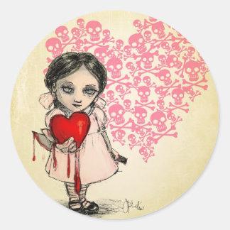 Malicious Valentine Girl Round Sticker