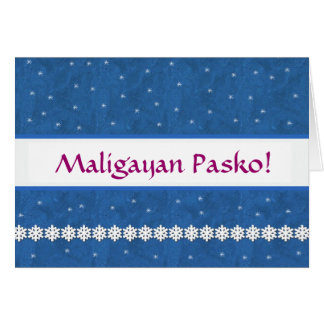 Maligayan Pasko Snowflakes BLUE  Background Card