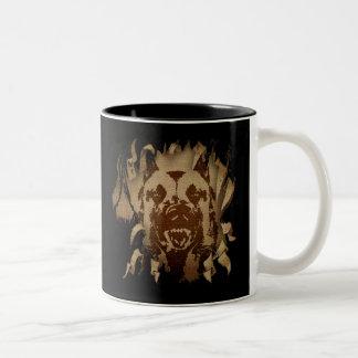 Malinois - Belgian shepherd -Mechelaar on denim Two-Tone Coffee Mug