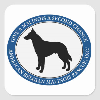 Malinois Rescue Logo, Square Sticker