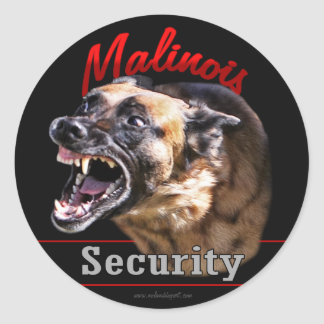 Malinois Security Classic Round Sticker