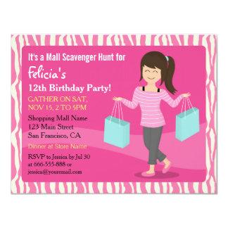 Mall Scavenger Hunt Birthday Party Zebra Print Card