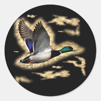 Mallard Duck Hunting Round Sticker