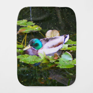 Mallard duck in a pond burp cloth
