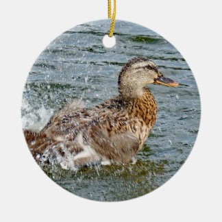 Mallard Duck Playing In The Water Ceramic Ornament