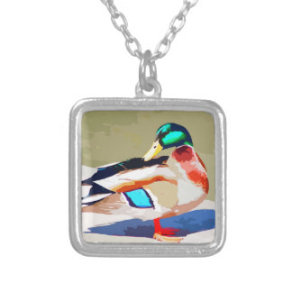 Mallard Duck Portrait Painting Silver Plated Necklace