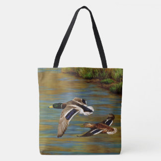 Mallard Ducks Flying Over Pond Tote Bag