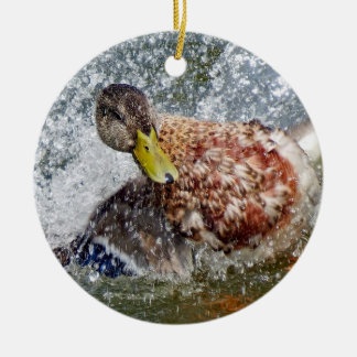 Mallard Hen Duck Splish Splash Taking A Bath Ceramic Ornament