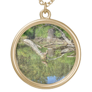 Mallard on Pond Gold Plated Necklace