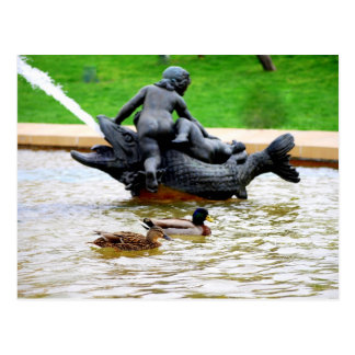 Mallard Pair in J.C. Nichols Fountain, Kansas City Postcard