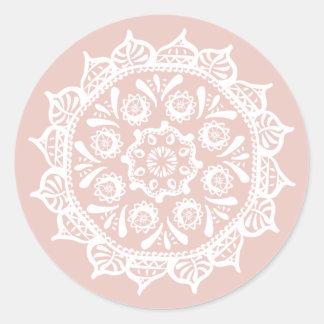 Mallow Mandala Classic Round Sticker