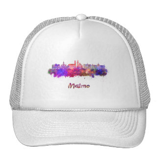 Malmo skyline in watercolor cap