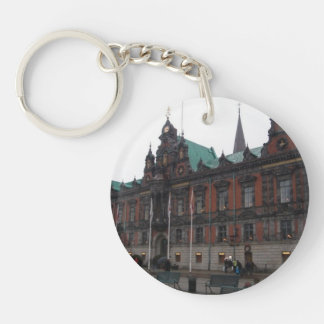 Malmö Sweden - City Hall Double-Sided Round Acrylic Key Ring