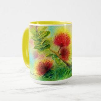Malorie Arisumi Ohia Lehua Blossom mug yellow trim