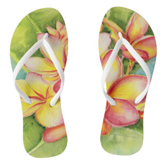 Malorie Arisumi plumeria watercolor slippers Thongs