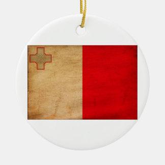 Malta Flag Round Ceramic Decoration