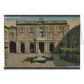 Malta - Library, Vintage Greeting Card