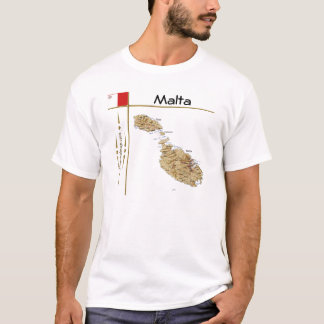 Malta Map + Flag + Title T-Shirt