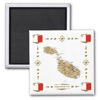 Malta Map + Flags Magnet