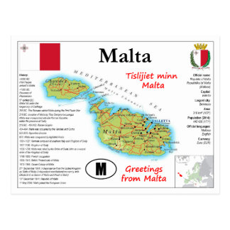 Malta Map Postcard