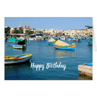 Malta Scenic View Traditional Boats Generic Card
