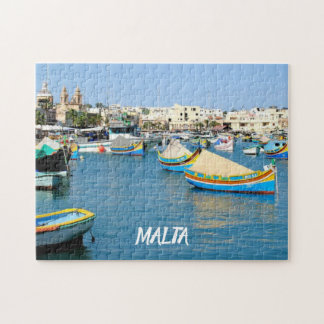 Malta  Scenic View Traditional Boats Jigsaw Puzzle