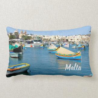 Malta  Scenic View Traditional Boats Lumbar Cushion