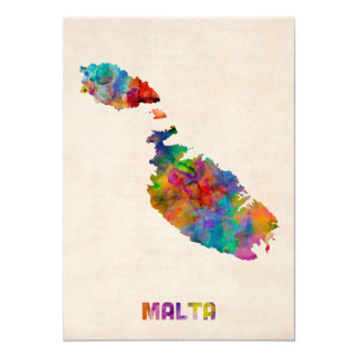 Malta Watercolor Map Card
