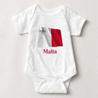 Malta Waving Flag with Name Baby Bodysuit