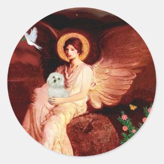 Maltese 11 - Seated Angel Round Sticker