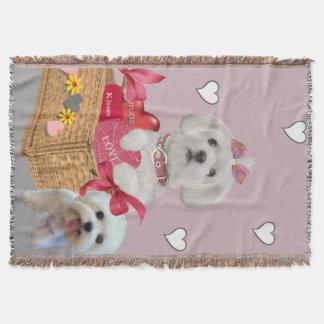 Maltese Basket of Love Throw Blanket