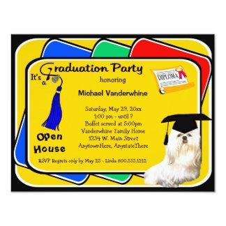 Maltese Blue Graduation Party Invitation