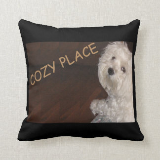 Maltese COZY PLACE Pillow-Home  -Black/White/Gold Cushion