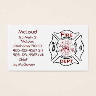 Maltese Cross Bussiness Cards Fire Fighters