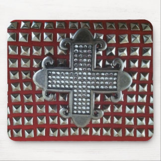 MALTESE CROSS ON STUDS ON RED MOUSEPAD