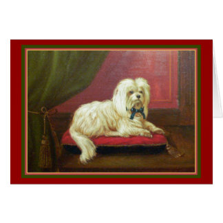 Maltese Dog Lover's Old Fashioned Christmas Card