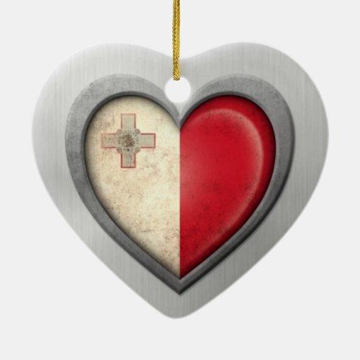 Maltese Heart Flag Stainless Steel Effect Ornament