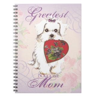 Maltese Heart Mom Spiral Note Book