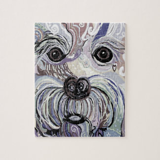 Maltese in Denim Colors Jigsaw Puzzle