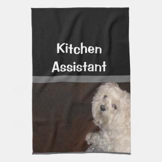 MALTESE Kitchen Assistant Towel-- Gray/Black/White Tea Towel