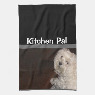 MALTESE Kitchen Pal Towel-Humor - Gray/Black/White Tea Towel