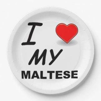 maltese love paper plate