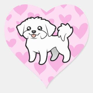 Maltese Love (puppy cut) Heart Sticker