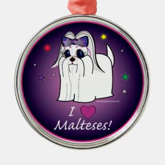 Maltese Love! Silver-Colored Round Decoration