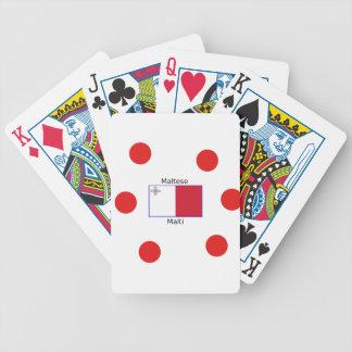 Maltese (Malti) Language And Malta Flag Design Bicycle Playing Cards