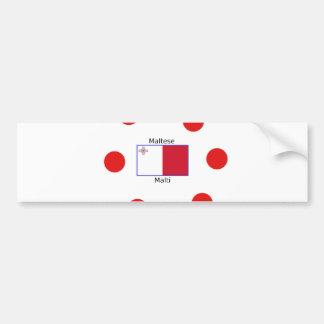 Maltese (Malti) Language And Malta Flag Design Bumper Sticker