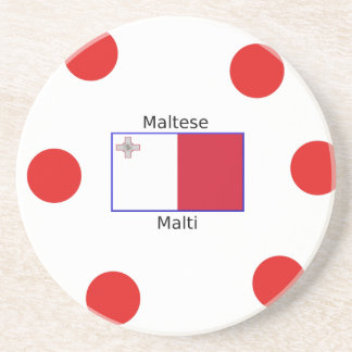 Maltese (Malti) Language And Malta Flag Design Coaster