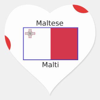 Maltese (Malti) Language And Malta Flag Design Heart Sticker