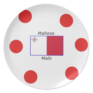 Maltese (Malti) Language And Malta Flag Design Plate