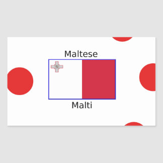 Maltese (Malti) Language And Malta Flag Design Rectangular Sticker